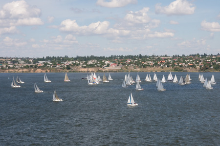 view with dozens of racing yachts