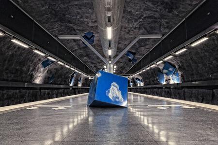solna: Stockholm Metro - Solna Strand (Vreten) Editorial