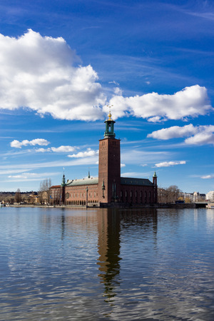 city hall: Stockholm City Hall with reflection. Stock Photo
