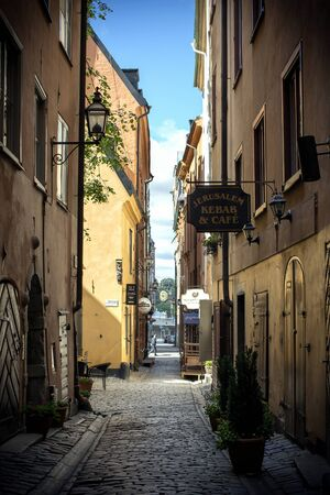 stan: Old street of stockholm old town, gamla stan