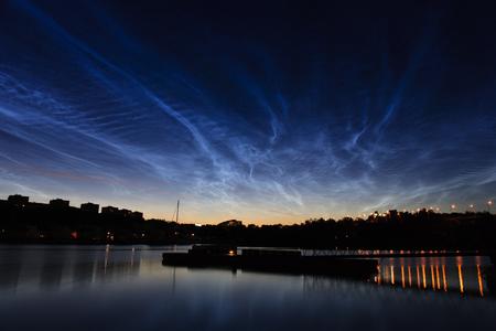 solna: Noctilucent clouds over Solna, Stockholm, Sweden Stock Photo