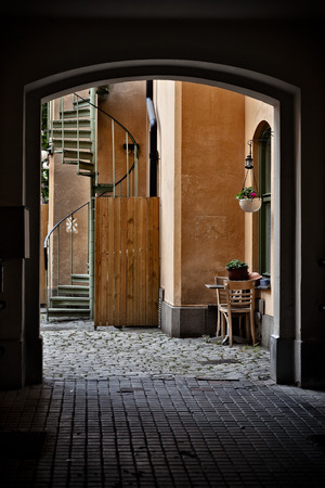 gamla stan: Behind the Gate  Gamla Stan Old Town, Stockholm, Sweden Stock Photo