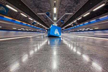 solna: Solna Strand, Stockholm Metro, Subway Art Underground Museum, Stockholm, Sweden Editorial