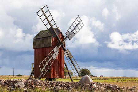 traditional windmill: Swedish Traditional Windmill, land, Sweden Stock Photo