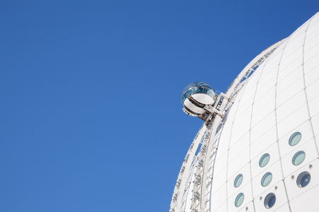 ericsson: Stockholm, Sweden - April 29 : The Stockholm Sky view. Sky view is the world-class attraction takes you to the top of the world largest spherical building, the Ericsson Globe, a Stockholm landmark. Editorial