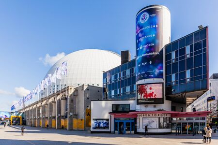 hemispherical: Stockholm, Sweden - April 29 : The Stockholm Globe Arena, was the largest hemispherical building on Earth when it was built. The Eurovision Song contest will be held in May 2016 at here.