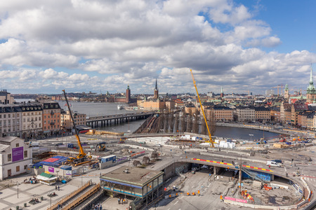 Stockholm, Sweden - April 29, 2016 : Slussen under construction. Stockholm city is building a new Slussen, transforming it from the traffic junction to a modern culture place to meet the future needs. Editorial