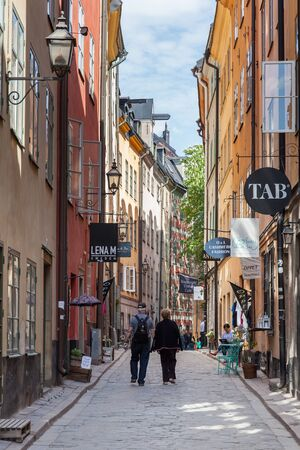 foremost: Stockholm, Sweden - May 10, 2016 : Street view of the Old town, one of the foremost attractions in the central Stockholm.