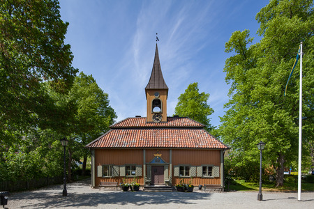 old town hall: Sigtuna, Sweden - May 23, 2016 : Front view of the Old town hall of Sigtuna. Sigtuna is the oldest town in Sweden, having been founded in 980. One of the popular attractions for tourist, especially during the summer. Editorial