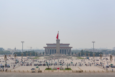 temporarily: Beijing, China - Jun 20, 2016 : View of the Tiananmen square from the Tiananmen. Temporarily clear skies over Beijing but still haze and smog in the air.