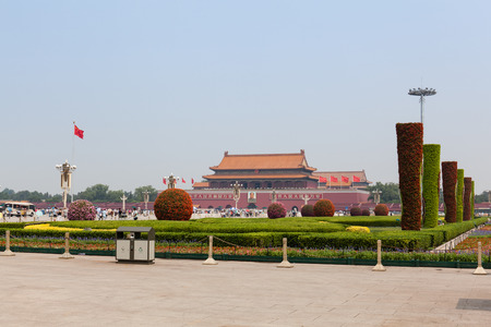 temporarily: Beijing, China - Jun 20, 2016 : Scene of the Tiananmen square. Temporarily clear skies with little haze in the air.