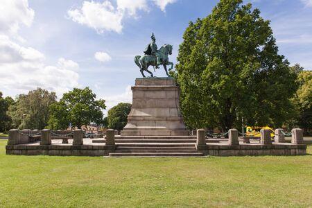 Stockholm, Sweden - Jul 27, 2016 : View of Statue of Karl XV at Djurgarden park, Stockholm, Sweden