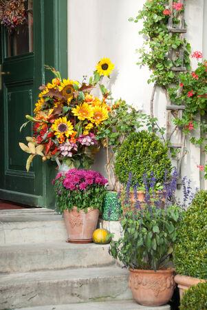 Fall Display at House Entrance
