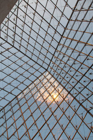 Interior of the glass Pyramid at the Louvre