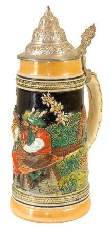 pewter mug: Decorative Bavarian Beer Stein II. Stock Photo