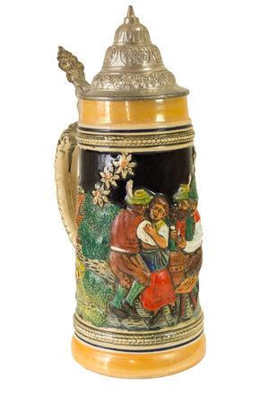 pewter mug: Decorative Bavarian Beer Stein I. Stock Photo
