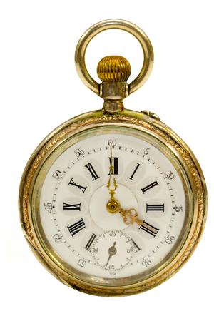 Französisch antike Taschenuhr Isolated Standard-Bild - 33824558
