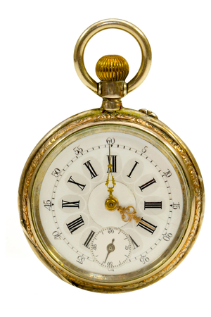 French Antique Pocket Watch Isolated Stock Photo