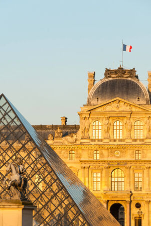 louvre pyramid: Louvre, Pyramid and Louis XIV Statue in Paris.