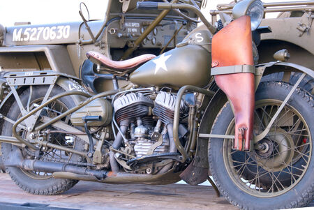 speed gun: A World War II Army Motorcycle and Jeep Editorial