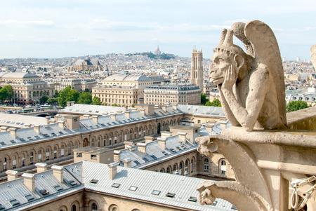 gargouille: Une gargouille ennuyer se trouve au sommet de Notre-Dame arpentage du paysage urbain parisien ci-dessous.