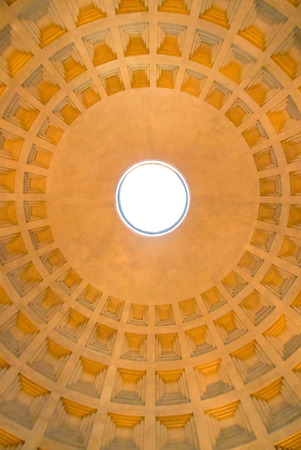 conceived: The Roman Pantheon, originally conceived and built by Marcus Agrippa. Stock Photo