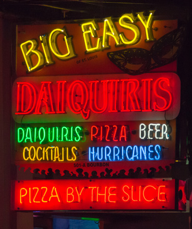 french quarter: Restaurant  and Bar Neon Sign Stock Photo