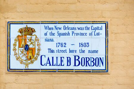 sign in: Bourbon Street Name Sign while Under Spanish Possession in New Orleans