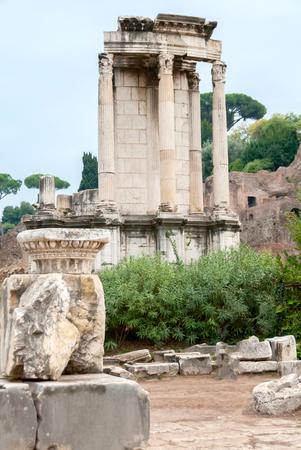 vestal: The remains of the Temple of Vesta, former home of ancient roman vestal virgins.
