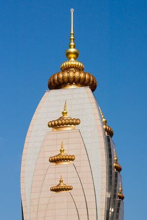 dome of hindu temple: Dome of  the Hindu temple and ashram Radha Madhav Dham Stock Photo