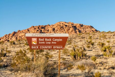 rock canyon: Red Rock Canyon Entrance Sign, Red Rock Canyon, Nevada