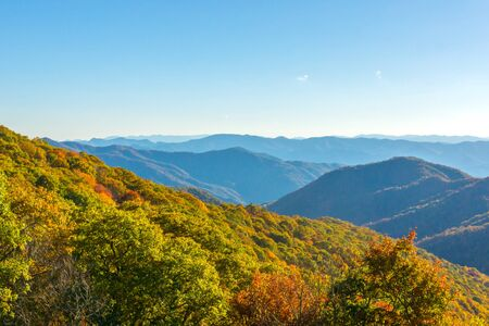 Great Smoky Mountains Colorful Fall Display Stock Photo