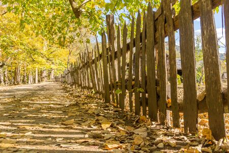 Old Wooden Picket Fence on a Historic Farm