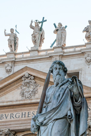 Statue of Saint Paul, the Apostle, in front of the Papal Basilica of St. Peter in the Vatican