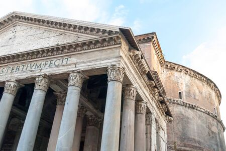 corinthian column: Two Thousand Year Old Roman Pantheon (Inscription Reads: Marcus Agrippa, son of Lucius, made [this building] when consul for the third time) II, Rome, Italy. Stock Photo