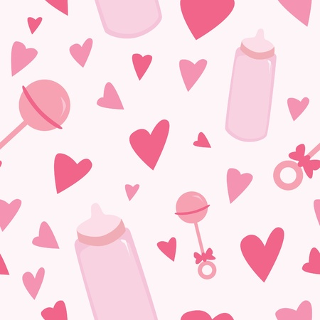 A seamless pattern of pink baby related items