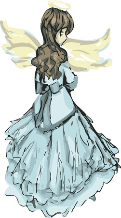 A pretty angel dressed in blue looking over her shoulder  Stock Vector - 15265634