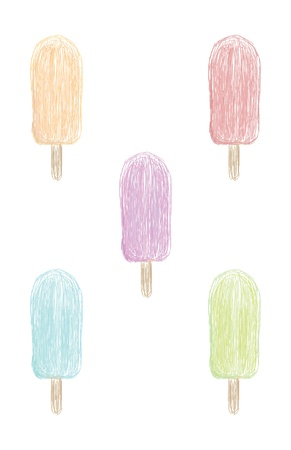 Five color variations including orange, red, purple, blue, and green, of a loosely drawn ice cream form  Illustration