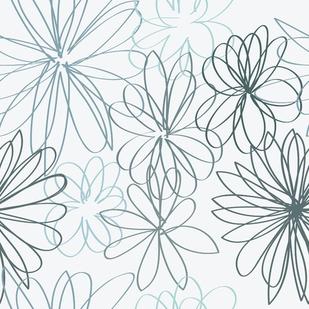 Simple blue flower doodles in a seamless pattern on a light grey background