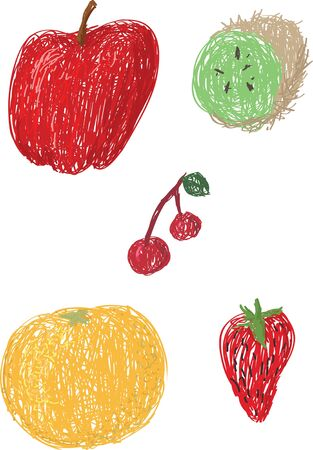 Loose drawings of various fruit including An apple, kiwi, orange, strawberry and cherries