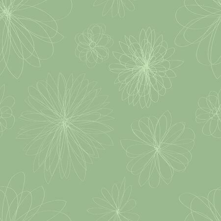 A seamless pattern on light green floral shapes on a darker green background  Stock Vector - 15265635