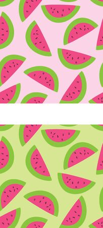 Two versions of a seamless watermelon pattern.