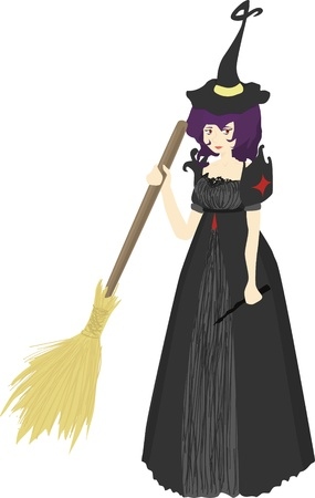 A witch character with a broom and a wand. Stock Vector - 15385745