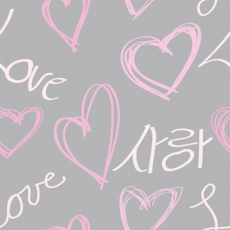 Love written in both Korean and English with pink hearts on a grey background.