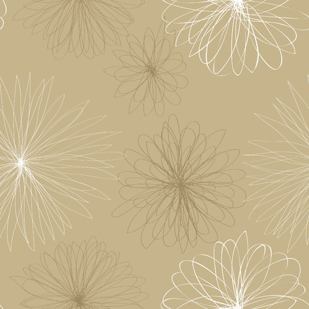 A seamless pattern of brown and white floral shapes on a light brown background.