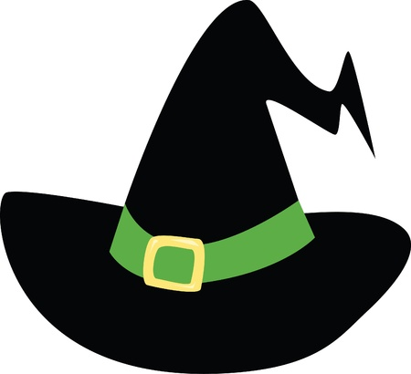 A basic witchs hat with a green band.