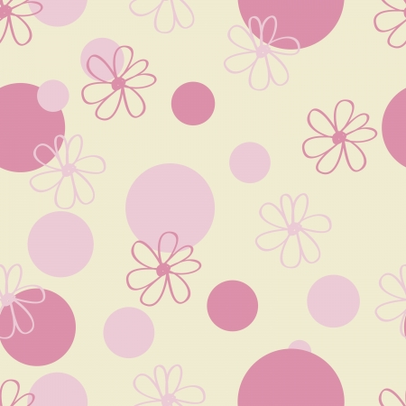 polka dots: A seamless pattern of pink flowers and dots on a pale yellow background. Illustration