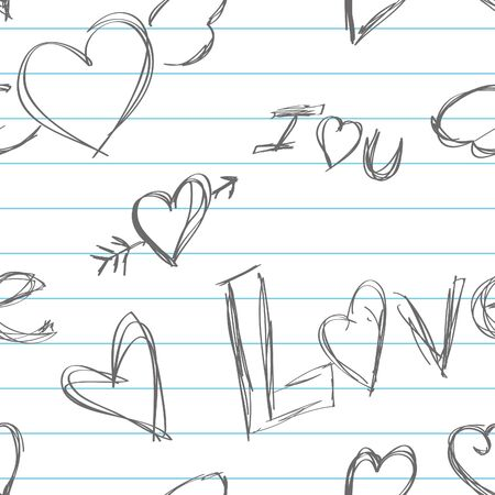 Doodles of hearts and love on a lined notebook style background.