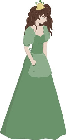 A young teenage princess dressed in a green gown. Vector