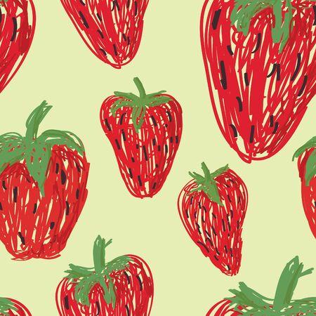 Een naadloze patroon van los getrokken aardbeien op een lichtgele achtergrond.